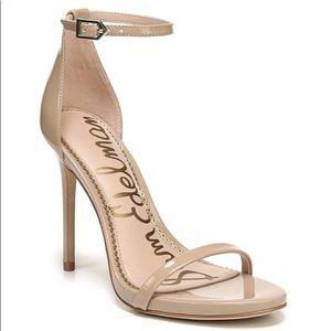 Sam Edelman tan patent Ariella strap heels